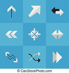 Vector Illustration Set Of Simple Cursor Icons. Elements Import, Indicator, Chaotically And Other Synonyms Boom, Inwardly And Southwest.