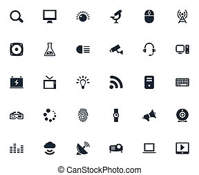 Vector Illustration Set Of Simple Device Icons. Elements...