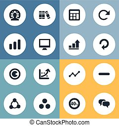 Vector Illustration Set Of Simple Diagram Icons. Elements Coordinate Axis, Surge, Line Chart And Other Synonyms Calculator, Dialog And Book.
