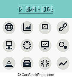 Vector Illustration Set Of Simple Analysis Icons. Elements Spreading Chart, Analytics, Comparison And Other Synonyms Chain, Growth And Spread.