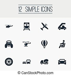 Vector Illustration Set Of Simple Transport Icons. Elements Helicopter, Airship, Cement Machine And Other Synonyms Chopper, Transport And Transportation.
