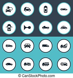 Vector Illustration Set Of Simple Transport Icons. Elements Coupe, Automotive, Faucet And Other Synonyms Oval, Road And Motor.