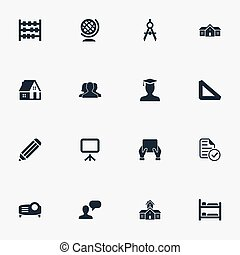 Vector Illustration Set Of Simple Education Icons. Elements...