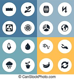 Vector Illustration Set Of Simple Energy Icons. Elements Planet, Soil, Houseplant And Other Synonyms Earth, Keg And Oil.