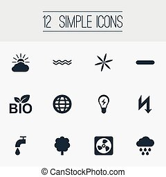 Vector Illustration Set Of Simple Energy Icons. Elements Weather, Earth, Natural Food And Other Synonyms Marine, Sea And Faucet.