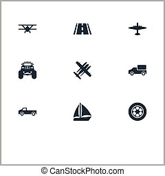 Vector Illustration Set Of Simple Transport Icons. Elements Road, Jeep, Suv And Other Synonyms Aircraft, Ramjet And Boat.