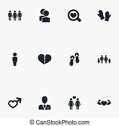 Vector Illustration Set Of Simple Beloved Icons. Elements Lineage, Barrister, Candidate Synonyms Love, Male And Flip.