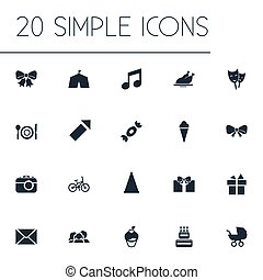 Vector Illustration Set Of Simple Birthday Icons. Elements Present, Mask, Sound Note And Other Synonyms Roasted, Bow And Envelope.