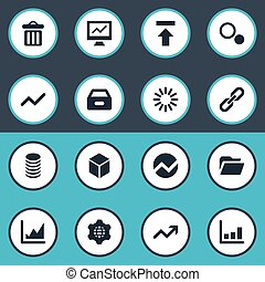 Vector Illustration Set Of Simple Analysis Icons. Elements Process, Profit, Chain And Other Synonyms Drawer, Case And Cube.
