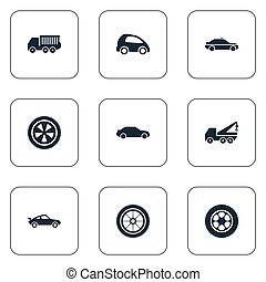 Vector Illustration Set Of Simple Transport Icons. Elements Siren, Rotation, Faucet And Other Synonyms Rubber, Repair And Automotive.