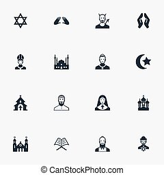 Vector Illustration Set Of Simple Faith Icons. Elements...
