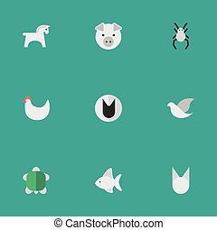 Vector Illustration Set Of Simple Fauna Icons. Elements...