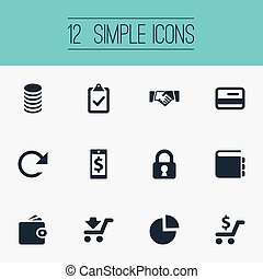 Vector Illustration Set Of Simple Finance Icons. Elements...