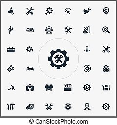 Vector Illustration Set Of Simple Fixing Icons. Elements...