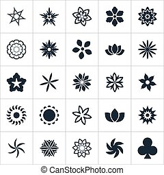 Vector Illustration Set Of Simple Flower Icons. Elements...