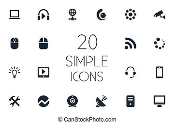 Vector Illustration Set Of Simple Gadget Icons. Elements Loading, Waiting, Wireless Connection And Other Synonyms Notebook, Headphone And Tablet.