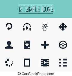 Vector Illustration Set Of Simple Game Icons. Elements Plus, Video, Sound And Other Synonyms Cinema, Loading And Movie.