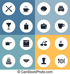 Vector Illustration Set Of Simple Gastronomy Icons. Elements Drainer, Bbq, Chopping Wood And Other Synonyms Tea, Kebab And Lemon.