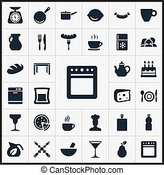 Vector Illustration Set Of Simple Gastronomy Icons. Elements Wooden Desk, Stove, Fridge And Other Synonyms Chopping, Tortilla And Freezer.