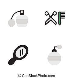 Vector Illustration Set Of Simple Hairdresser Icons....