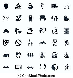 Vector Illustration Set Of Simple Health Icons. Elements Lineage, Night Club, Cyberspace And Other Synonyms Pose, Travel And Weightlifting.