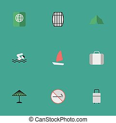 Vector Illustration Set Of Simple Holiday Icons. Elements Cask, Pool, Smoke Forbidden And Other Synonyms Luggage, Ship And Swimming.