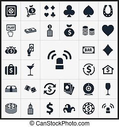 Vector Illustration Set Of Simple  Icons. Elements Money Flow, Bank, Siren And Other Synonyms House, Spades And Vegas.