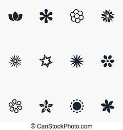 Vector Illustration Set Of Simple Icons. Elements Floral,...