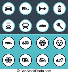 Vector Illustration Set Of Simple Automobile Icons. Elements Transport Cleaning, Lattice, Repair And Other Synonyms Circle, Toy And Truck.