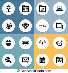 Vector Illustration Set Of Simple Optimization Icons. Elements Webpage, Look, Aim And Other Synonyms Password, Processor And Junction.