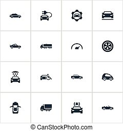 Vector Illustration Set Of Simple Transport Icons. Elements Sedan, Transport Cleaning, Gear And Other Synonyms Shower, Bell And Siren.