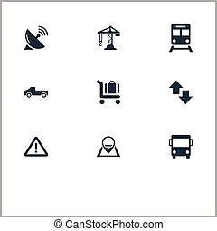 Vector Illustration Set Of Simple Infrastructure Icons. Elements Suv, City Bus, Navigation And Other Synonyms Travel, Subway And Public.
