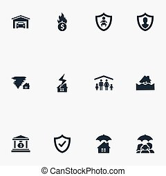 Vector Illustration Set Of Simple Insurance Icons. Elements...