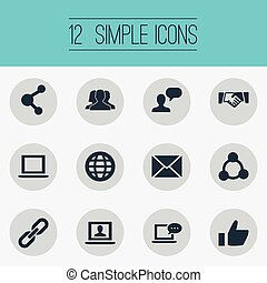 Vector Illustration Set Of Simple Internet Icons. Elements Notebook, Chat, New Mail And Other Synonyms Global, Notebook And Inbox.