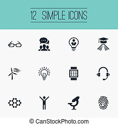 Vector Illustration Set Of Simple Invention Icons. Elements...