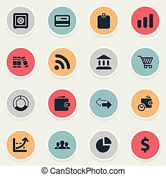 Vector Illustration Set Of Simple Investment Icons. Elements Segmentation, Billfold, Strongbox And Other Synonyms Trolley, Two And Dollar.