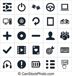 Vector Illustration Set Of Simple Leisure Icons. Elements Minus, Shut Down, Notebook And Other Synonyms Exclamation, Checklist And Reload.
