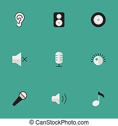 Vector Illustration Set Of Simple Melody Icons. Elements Microphone, Regulator, Volume And Other Synonyms Ear, Mute And Mike.