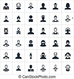 Vector Illustration Set Of Simple Member Icons. Elements...