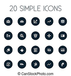 Vector Illustration Set Of Simple Money Icons. Elements Bank...