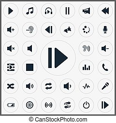 Vector Illustration Set Of Simple Music Icons. Elements...