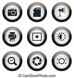 Vector Illustration Set Of Simple Photograph Icons. Elements...