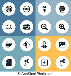 Vector Illustration Set Of Simple Photograph Icons. Elements Magnifying, Brilliance, Luminous Origin And Other Synonyms Man, Noise And Camcorder.
