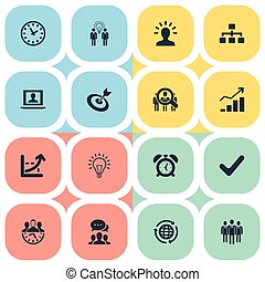 Vector Illustration Set Of Simple Plan Icons. Elements Goal, Labtop, Hierarchy And Other Synonyms Diagram, College And Mind.