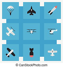Vector Illustration Set Of Simple Plane Icons. Elements ...