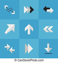 Vector Illustration Set Of Simple Pointer Icons. Elements Arrow, Onward, Forward And Other Synonyms Back, Boom And Southwest.