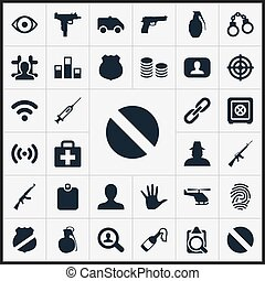 Vector Illustration Set Of Simple Police Icons. Elements Cash, Explode, Inspector And Other Synonyms Internet, Fingers And Handgun.