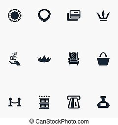 Vector Illustration Set Of Simple Rich Icons. Elements Queen, Fence, Perfume Bottle And Other Synonyms Interior, King And Card.