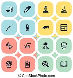 Vector Illustration Set Of Simple Science Icons. Elements...