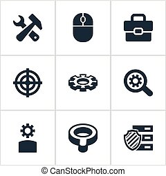 Vector Illustration Set Of Simple SEO Icons. Elements Suitcase, Tools, Mouse And Other Synonyms Sniper, Magnifier And Inlet.